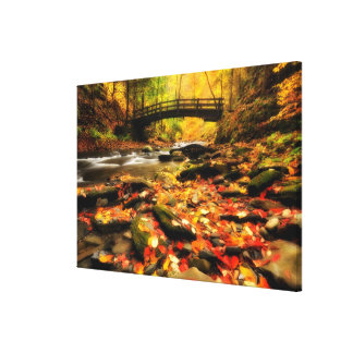Wooden Bridge and Creek in Fall Canvas Print
