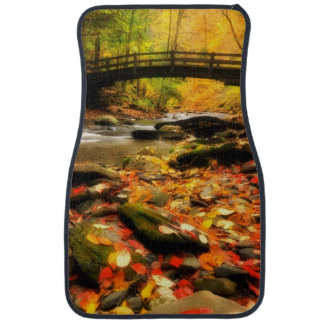 Wooden Bridge and Creek in Fall Car Floor Mat