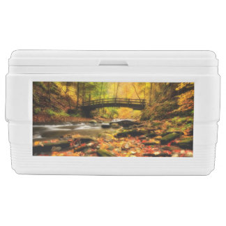 Wooden Bridge and Creek in Fall Chest Cooler