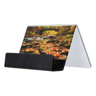 Wooden Bridge and Creek in Fall Desk Business Card Holder
