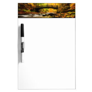 Wooden Bridge and Creek in Fall Dry-Erase Board