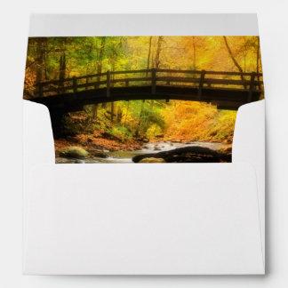 Wooden Bridge and Creek in Fall Envelope