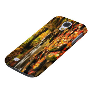Wooden Bridge and Creek in Fall Galaxy S4 Cover