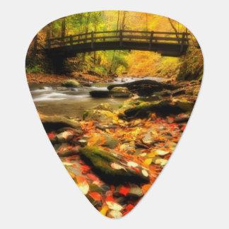 Wooden Bridge and Creek in Fall Guitar Pick
