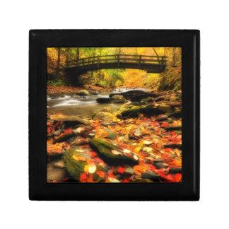 Wooden Bridge and Creek in Fall Jewelry Box