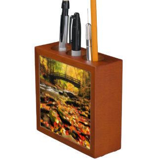 Wooden Bridge and Creek in Fall Pencil Holder