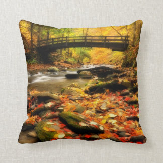 Wooden Bridge and Creek in Fall Pillow