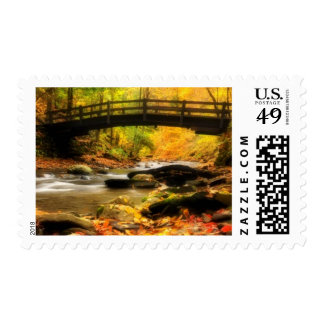 Wooden Bridge and Creek in Fall Postage