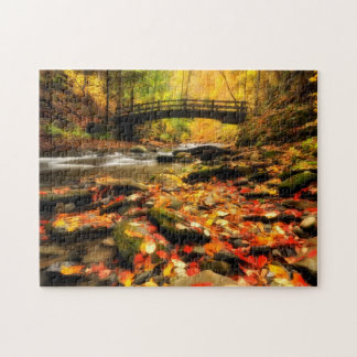Wooden Bridge and Creek in Fall Jigsaw Puzzle