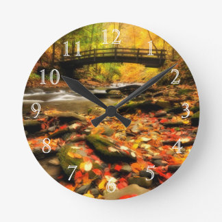 Wooden Bridge and Creek in Fall Round Clock