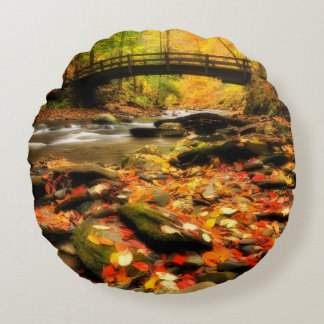 Wooden Bridge and Creek in Fall Round Pillow