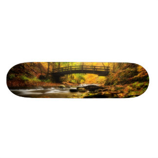 Wooden Bridge and Creek in Fall Skateboard