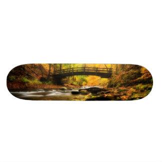 Wooden Bridge and Creek in Fall Skateboard