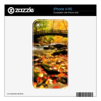 Wooden Bridge and Creek in Fall Decals For iPhone 4