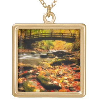 Wooden Bridge and Creek in Fall Square Pendant Necklace
