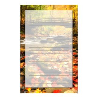 Wooden Bridge and Creek in Fall Stationery