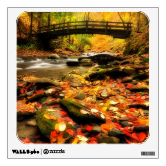 Wooden Bridge and Creek in Fall Wall Sticker