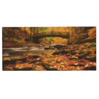 Wooden Bridge and Creek in Fall Wood USB Flash Drive