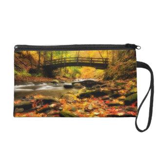 Wooden Bridge and Creek in Fall Wristlet Purse