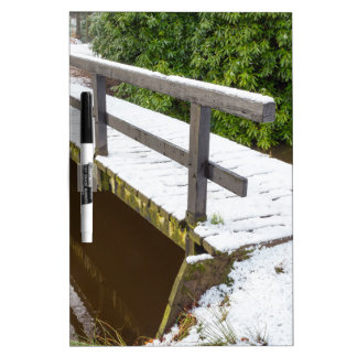 Wooden bridge covered with snow in winter Dry-Erase board