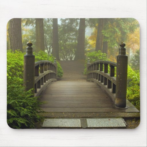 Wooden Bridge in Japanese Garden Mouse Pad