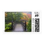 Wooden Bridge in Japanese Garden Postage Stamp