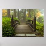 Wooden Bridge in Japanese Garden Poster