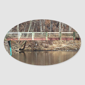 Wooden Bridge Oval Sticker
