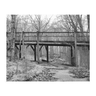 Wooden Bridge over Walkway Canvas Print