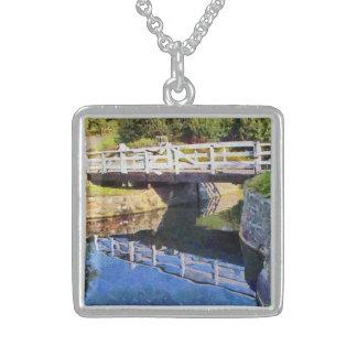 Wooden Bridge Square Pendant Necklace
