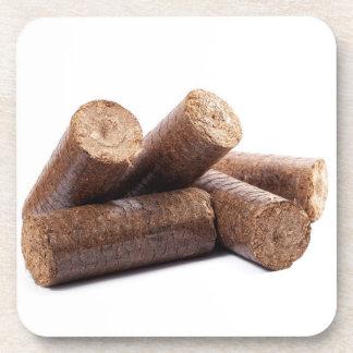 Wooden briquettes beverage coaster