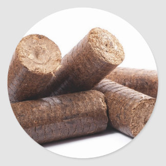 Wooden-briquettes Classic Round Sticker