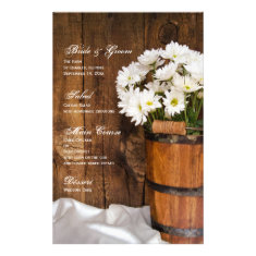 Wooden Bucket and Daisies Country Wedding Menu Customized Stationery