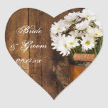Wooden Bucket and Daisies Country Wedding Stickers