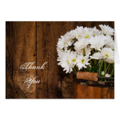 Wooden Bucket and White Daisies Country Thank You Greeting Cards