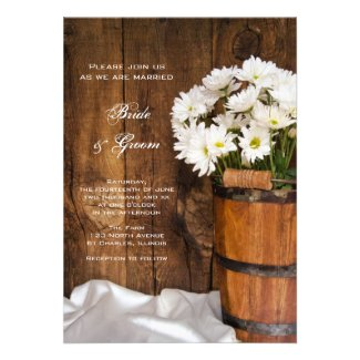 Wooden Bucket and White Daisies Country Wedding Announcements