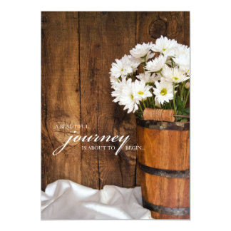 Wooden Bucket and White Daisies Country Wedding Personalized Invitations
