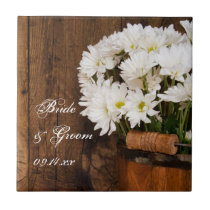 Wooden Bucket and White Daisies Country Wedding Tile