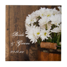 Wooden Bucket and White Daisies Country Wedding Ceramic Tiles