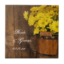 Wooden Bucket and Yellow Daisies Country Wedding Tile