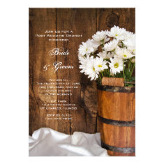 Wooden Bucket Daisies Country Post Wedding Brunch Cards