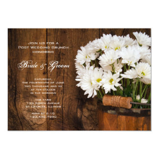 Wooden Bucket Daisies Country Post Wedding Brunch Invitation