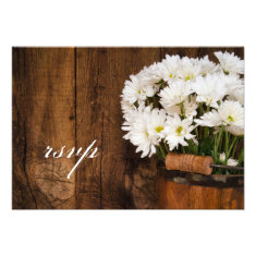 Wooden Bucket Daisies Country Wedding RSVP Card