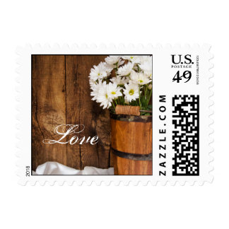 Wooden Bucket White Daisies Country Love Wedding Stamps