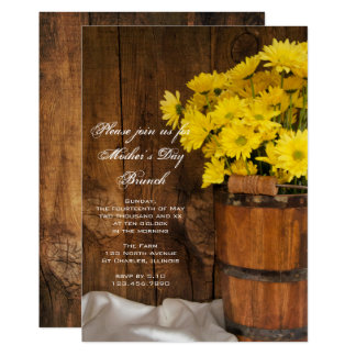 Wooden Bucket Yellow Daisies Mother's Day Brunch Invitation