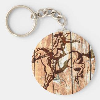 Wooden bucking bronco cowboy basic round button keychain