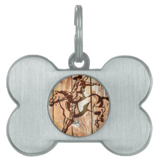 Wooden bucking bronco cowboy pet tag