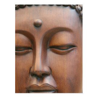 Wooden Buddha Face Postcard