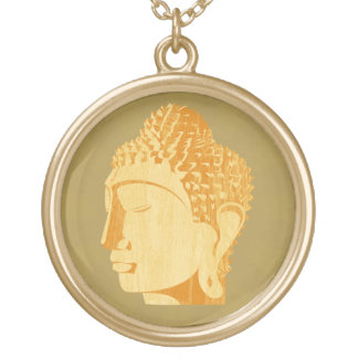 Wooden Buddha Necklace (golden background)