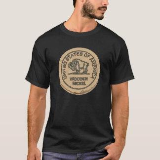 Wooden Buffalo Nickle, add text T-Shirt